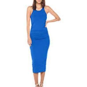 Michael Stars S Racerback Midi Dress Blue Solid
